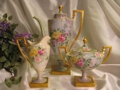 Beautiful Antique BELLEEK COFFEE TEA SET ~ GORGEOUS HAND PAINTED ROSES ~  Magnificent Porcelain Art Heirloom Treasure ~ Elegant Victorian Hand Painted Porcelain ~ Tea Pot Creamer and Sugar CAC Belleek Circa 1900