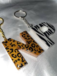 Cute Custom Initial Letter Black and Yellow Striped Bee Personalized keychain accessory