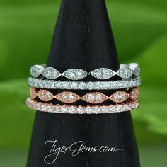 The art deco and half eternity band set is the perfect edition to a vintage engagement ring or everyday ring stack.  Order a set today in sterling silver or rose gold plated over sterling silver at TigerGems.com. $94.97 ━❤️━ Handmade with Love 100% Happiness Guarantee Free US Shipping & Free Returns ━━ Shop Now at TigerGems.com ━✨━