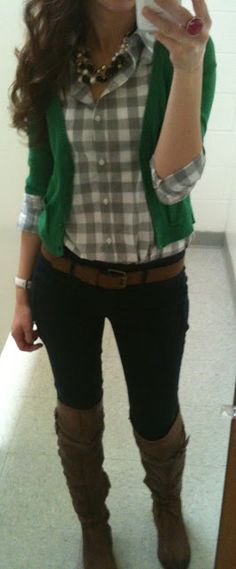 """Checkered shirt, green blouse, pearly necklace, black pants...""""All Checkered Up"""""""