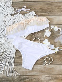 White Lace Detail Halter Bikini Set With Lace Crochet Top