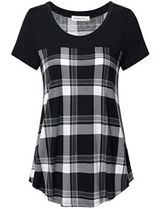 online shopping for Liamluna Women's Round Neck Color Block Plaid T Shirt Casual Blouse from top store. See new offer for Liamluna Women's Round Neck Color Block Plaid T Shirt Casual Blouse Women's Summer Fashion, Fashion Wear, Women's Henley, Plaid Tunic, Pretty Shirts, Blouse Styles, Shirt Blouses, Casual Shirts, Short Sleeve Dresses