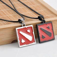 Nuevo 2015 Hot Red Juego Dota 2 Colgante, Collar de Europa America Mujeres Y Hombres Collar de Esmalte Juego de Joyería de los hombres regalos