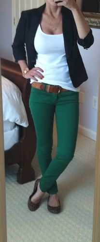 Love the green pants. In need of a white T-shirt that's heavy but not see through. Love the blazer.