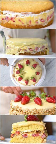 Torta Folhada de Morango ( receita fácil e deliciosa… veja como fazer passo a passo ) #torta #tortafolhada #tortademorango #tortacremosa #sobremesa #tastemade