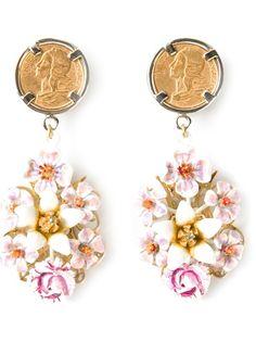 Shop DOLCE & GABBANA floral drop earrings from Farfetch