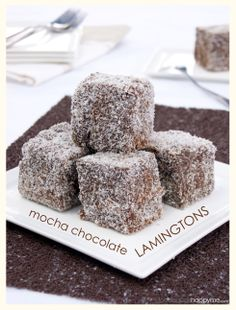 Mocha Chocolate Lamingtons Aussie Food, Australian Food, Mocha Chocolate, Mini Cakes, Foods, Bar, Desserts, Recipes, Food Food