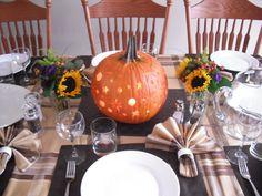 Thanksgiving Fall Harvest Autumn Wedding DIY Pumpkin Luminary Tablescape Decor
