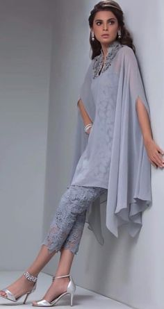Gray Lace Mother of the bride pant suits with Overlay Mid-Calf - Prom Pantsuits - Prom Dresses Pakistani Dresses, Indian Dresses, Indian Outfits, African Fashion, Indian Fashion, Womens Fashion, Fashion Fashion, Kaftan Designs, Custom Dresses