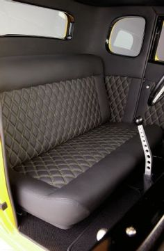 Scott Rueschenberg's '32 Five-Window Interior Stitched 2 Inch Diamond Pattern In Black Leather Bench Seat