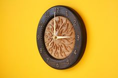 "Wood carved wall clock ""Flaming Sun"""