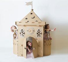 Cardboard Houses For Kids, Cardboard Box Crafts, Cardboard Castle, Cardboard Playhouse, Cardboard Toys, Cardboard Furniture, Cardboard Rocket, Miniature Houses, Toddler Girls