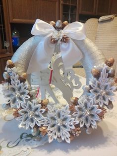 Easter Wreaths, Holiday Wreaths, Holiday Ornaments, Christmas Decorations, Save On Crafts, Xmas Crafts, Christmas Projects, Ribbon Art, Ribbon Crafts