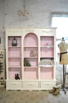 Inserts at tops, drawers could be added to basic bookcases. Inspiration from Painted Cottage Chic Shabby White Handmade by paintedcottages, $995.00
