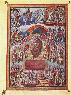 Frontispiece to Proverbs with scenes from the life of Solomon, Bible of San Paolo fuori le Mura, folio 188v