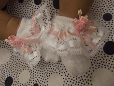 "Dream 0 3 Months Baby Pink White Ribbon Roses Frilly Socks 20 24"" Reborn Doll"" | eBay"