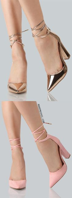 Metallic Point Toe Ankle Wrap Heels