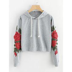 Embroidered Rose Applique Sleeve Hoodie (46 PLN) ❤ liked on Polyvore featuring tops, hoodies, multicolor, long sleeve pullover, long sleeve hoodies, sweatshirt hoodies, floral hoodie and hoodie crop top