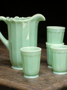 Jadeite Pitcher and glasses to match--I've not seen the glasses before--and oh I love them too!
