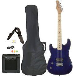 Left Handed Beginner Blue Electric Guitar Package with Amp Case Picks Strap Value Pack