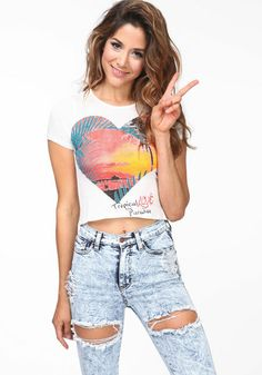 050940b679 Tropical Paradise Crop Top  croptop  shortsleeve  graphic  tee  heart  love   paradise  island  resort  spring  newarrivals  loveculture