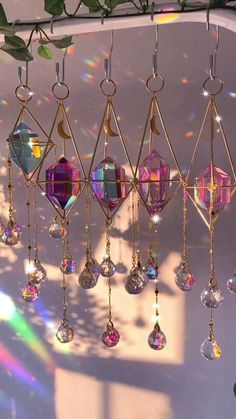 Crystal Aesthetic, Fete Halloween, Hanging Crystals, Crystal Decor, Ornaments Design, Aesthetic Room Decor, Home And Deco, Hanging Ornaments, Suncatchers