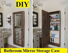 Free plans and tutorial to create your own DIY Bathroom Mirror Storage Case! These are perfect for adding storage to small bathrooms and maximizing space! Hidden Storage, Diy Storage, Storage Ideas, Extra Storage, Bath Storage, Cabinet Storage, Jewelry Storage, Hidden Shelf, Secret Storage