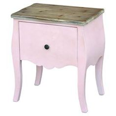 This wonderful and unique shabby chic piece has a natural polished wooden surface, perfectly offset with a traditional pink paint colour finish. Ideal to add a touch of charm in your bedroom today # French Furniture, Shabby Chic Furniture, Kids Furniture, Lounge Furniture, Pink Paint Colors, French Bedside Tables, Side Table With Storage, Round Side Table, Wooden Cabinets