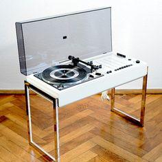 1970s Vtg White WEGA 3207 HiFi Dual Design Turntable Record Player Colani Panton