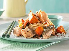 Trout and pumpkin with soba noodles    This easy to make dish is great as a lunch or light dinner.