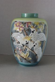 Rare Vintage Antique Large Cockatoo Parrot & Dogwood Majolica Vase 2 Sided | picclick.com