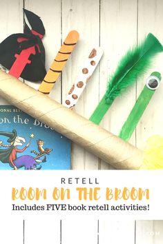 Retell Room On The Broom Abc Preschool, Prek Literacy, Preschool Centers, Kindergarten Science, Preschool Halloween, Retelling Activities, Book Activities, Tales Of Halloween, Halloween Fun