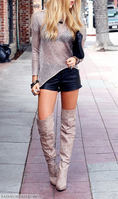 Thigh high boots and shorts!