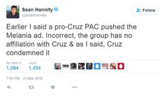 Sean Hannity of Fox/Trump News Channel forced to admit Ted Cruz had ZERO connection with Melania Trump ad.   [Yeah, thanks Sean, it's an ANTI-TRUMP PAC, idiot.]