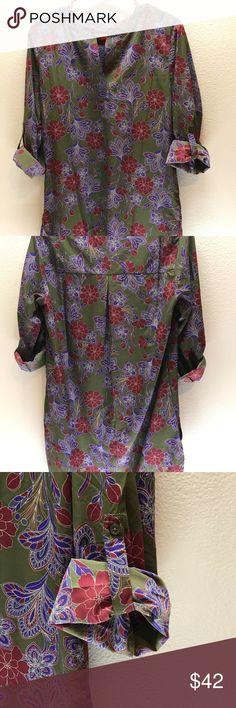 8b96ee39ec8 Joe Fresh Olive Green Floral Print Dress Size M Joe Fresh olive green with  purple and