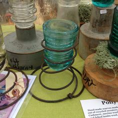 Repurposed ideas for old bed springs. Upcycle, recycle, salvage bedsprings, add insulators, plants, candles and more...