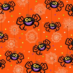 Frightful & Delightful - Glow in the Dark Spiders on Orange Horse Fabric, Cat Fabric, Fabric Birds, Halloween Fabric, Halloween Patterns, Halloween Party, Halloween Cartoons, Halloween Clipart, Halloween Backgrounds