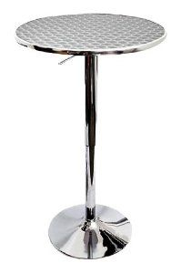 Chrome bar table for kitchen & war room  Hydraulic lever adjusts height from 26 to 41 inches; 22-inch diameter