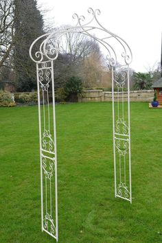 Ornate Antique White Wrought Iron Metal Rose Arch