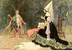 """Warwick Goble ~ Rumpelstiltskin ~ The Fairy Book by John Halifax ~ MacMillan ~ 1913 ~ via """"'Are you not sometimes called Rumpelstilzchen?'"""" … page 96 Art And Illustration, Free Illustrations, Rumpelstiltskin, Warwick Goble, Charles Perrault, Brothers Grimm, Fairytale Art, Faeries, Illustrators"""