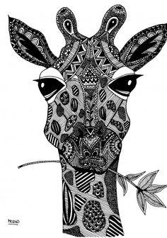Free coloring page for adults. Giraf with doodles. Zentangle Giraf. Gratis kleurplaat voor volwassenen. Giraffe.