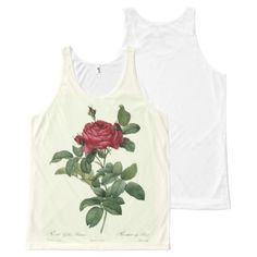 Fine Vintage Rose Botanical Beautiful Floral All-Over Print Tank Top Tank Tops