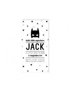 Maatwerk bestel je online op www.oliveandmint.nl. Geheel naar eigen smaak samen te stellen. Betaalbare geboortekaartjes, kraamfeest, babyborrel en meer. Mini Me, Baby Cards, Letterpress, Birthday Invitations, Announcement, Superhero, Poster, Decor, Invitations
