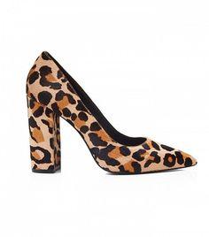 Pour La Victoire Celina Leopard Print Calf Hair Block Heel Pumps