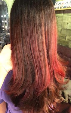 Red Highlights, Silky Hair, Hair Inspo, Curls, Hair Color, Hairstyles, Long Hair Styles, Beauty, Beautiful