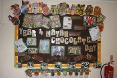 Year 4 mysterious Maya (Mayan) chocolate day corridor display.