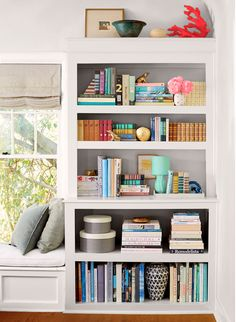 bookshelf in living room. How to style ur bookcase Emily Henderson bookshelf styling  dayme walther Love This Look Pinterest