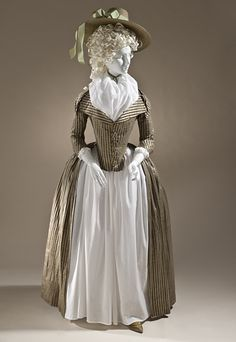 Europe  Woman's Redingote, circa 1790  Costume/clothing principle attire/entire body, Silk and cotton satin and plain weave, Center back length: 61 1/4 in. (155.58 cm)  Purchased with funds provided by Robert and Mary M. Looker (M.2009.120)  Costume and Textiles Department.