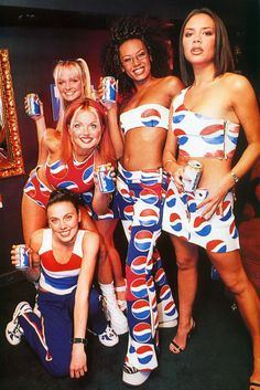 The Spice Girls were REALLY good at selling stuff. Here they are pushing Pepsi-Cola!