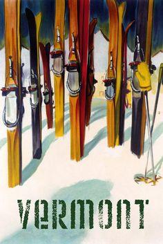 Cannon Mountain, New Hampshire - Colorful Skis - Lantern Press Artwork Giclee Art Print, Gallery Framed, Espresso Wood), Multi Ski Vintage, Vintage Ski Posters, Vintage Art, French Posters, Vintage Style, Wallis, Brighton Resort, St Anton, Winter Park Colorado